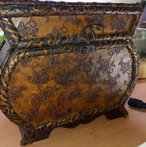 VINTAGE leather encased trunk style JEWELRY BOX